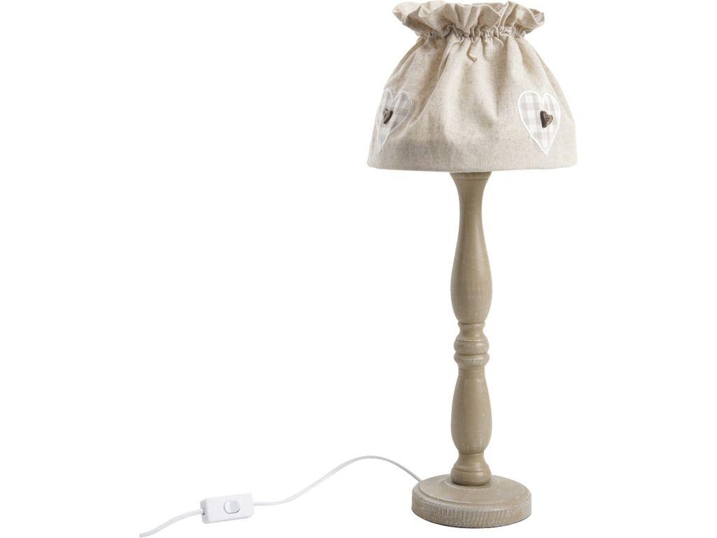 Lampe poser en bois et coton cru for Lampe a poser bois
