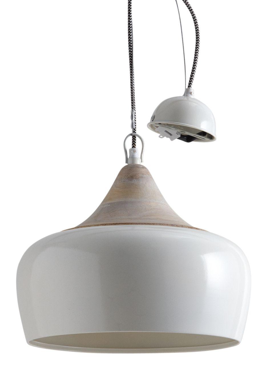 lampe suspension en m tal laqu et bois. Black Bedroom Furniture Sets. Home Design Ideas