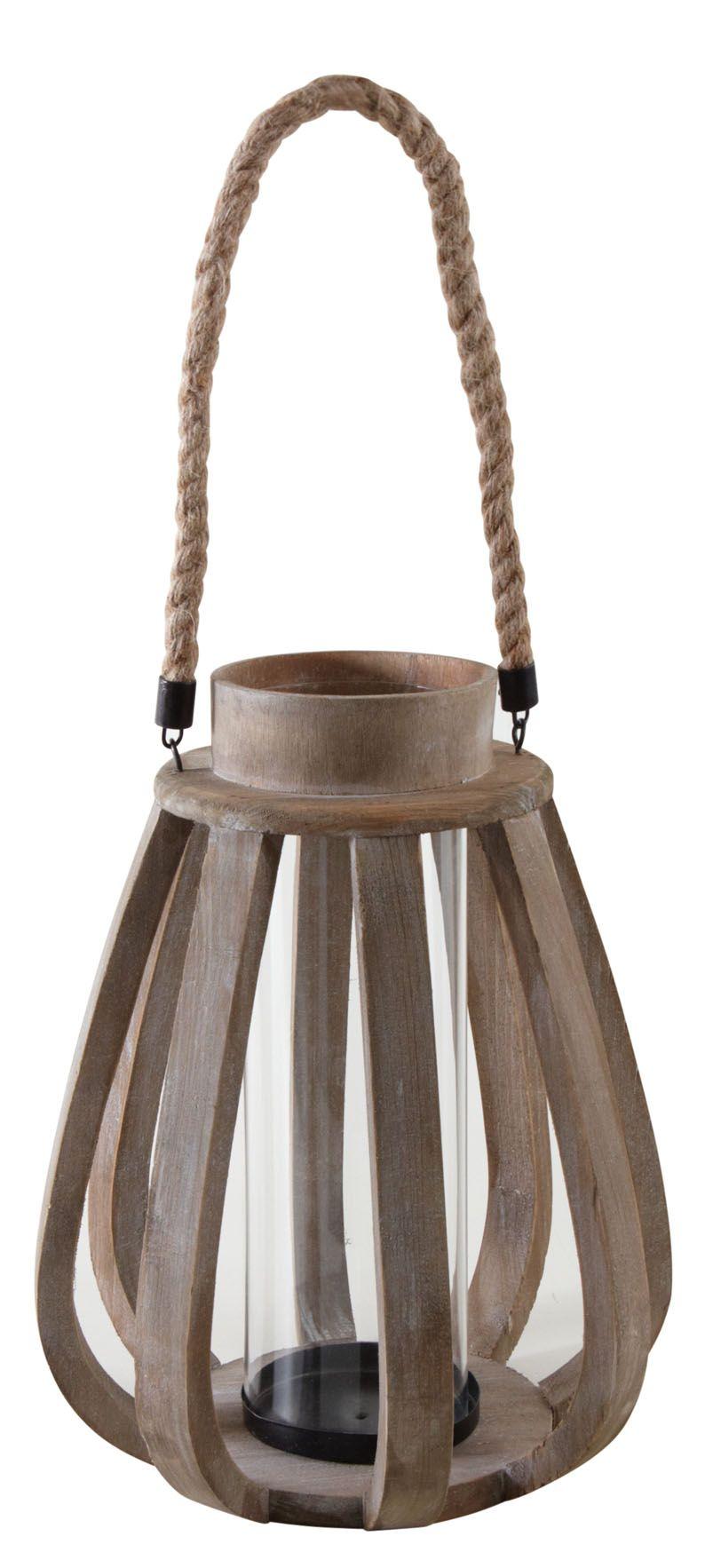 lanterne de jardin en bois vieilli et verre - Lanterne De Jardin