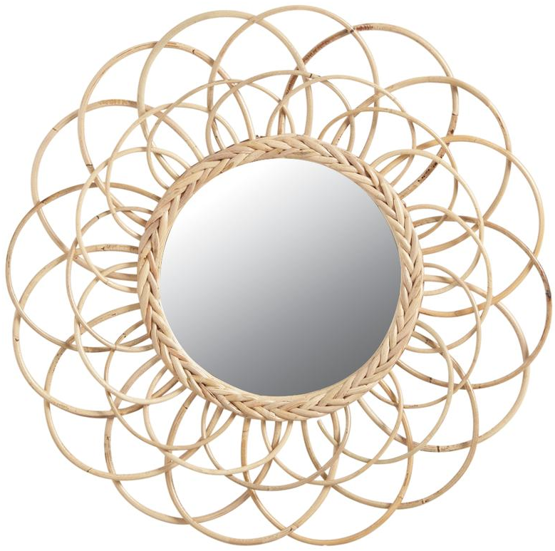 Miroir en rotin fleur for Miroir rotin noir
