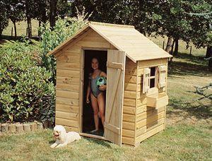 Cabane de jeux lucas pour enfant avec porte et volets 125x100x150cm