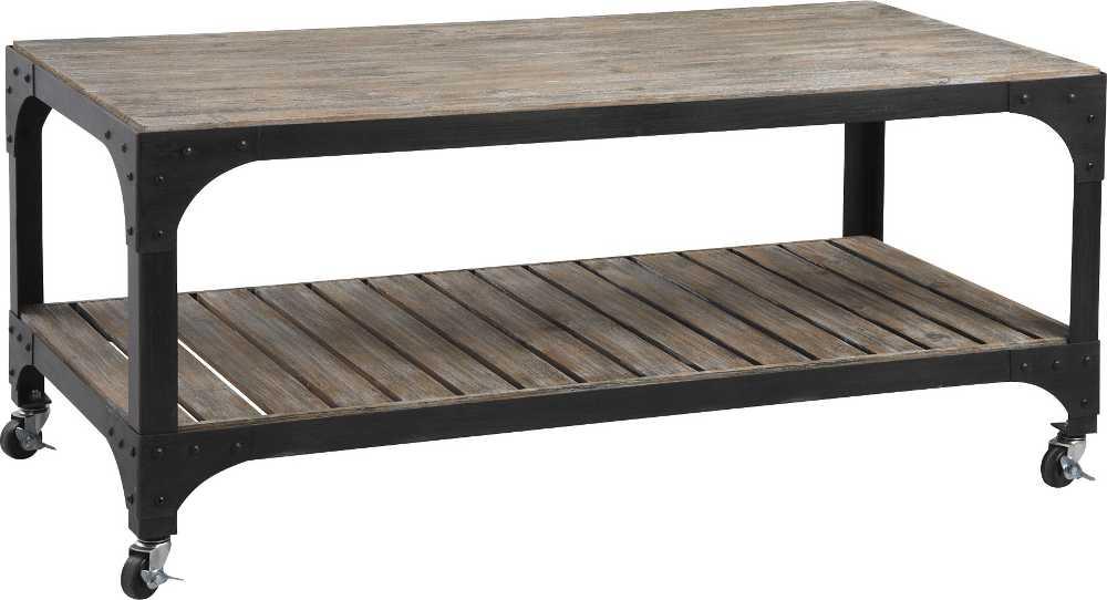 Table basse sur roulettes en m�tal et bois 116x56x51cm