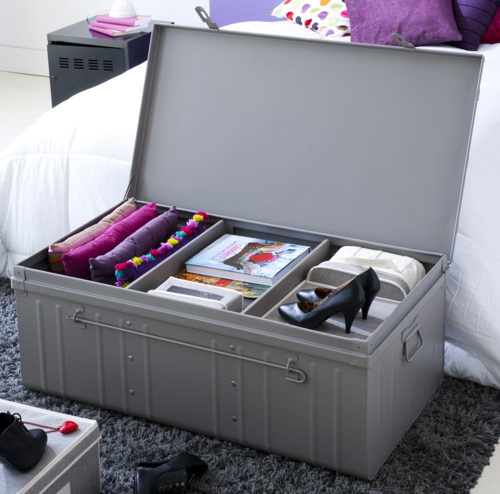 malle armoire en acier 2 en 1 taupe. Black Bedroom Furniture Sets. Home Design Ideas