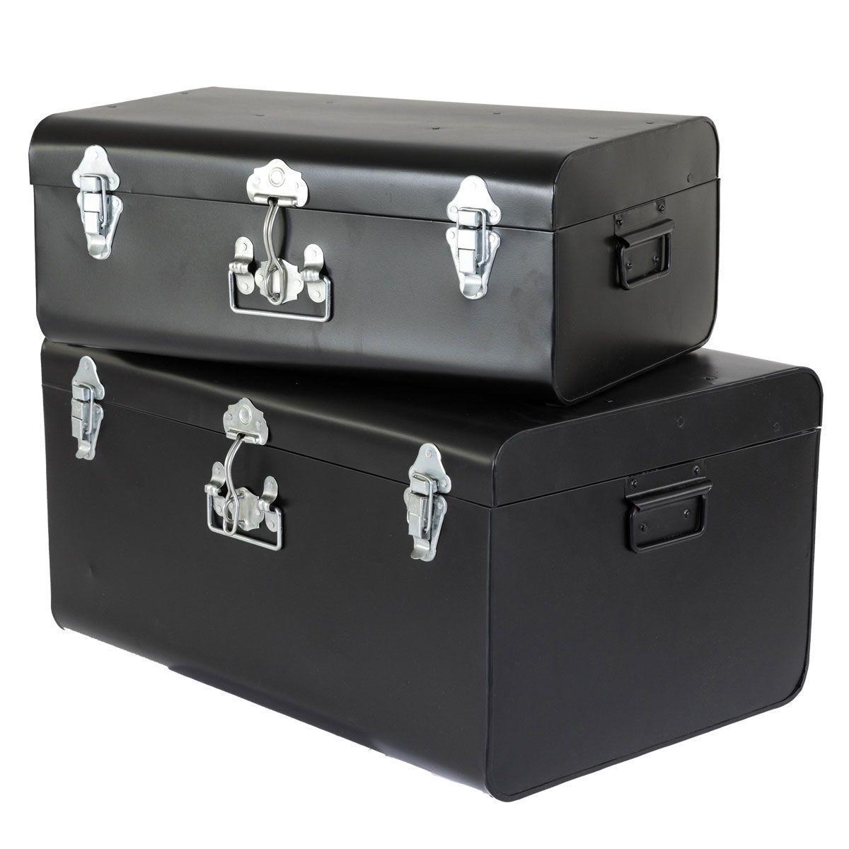 malles en acier brut trunck lot de 2 noir. Black Bedroom Furniture Sets. Home Design Ideas