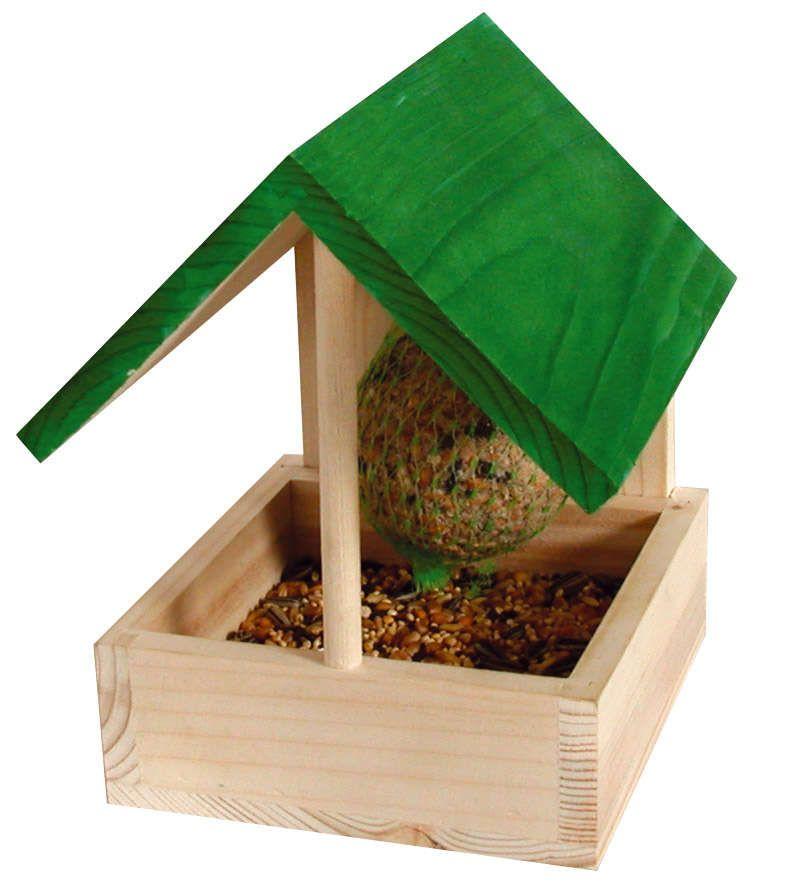 Nichoir En Bois Brut A Fabriquer : Mangeoire en bois narcisse 11,7×12,3×16,3cm avec boule de graisse