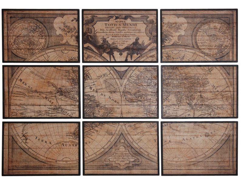 mappemonde en bois 9 cadres. Black Bedroom Furniture Sets. Home Design Ideas
