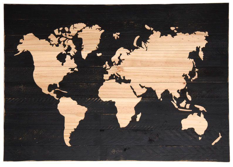 mappemonde sur bois peint. Black Bedroom Furniture Sets. Home Design Ideas