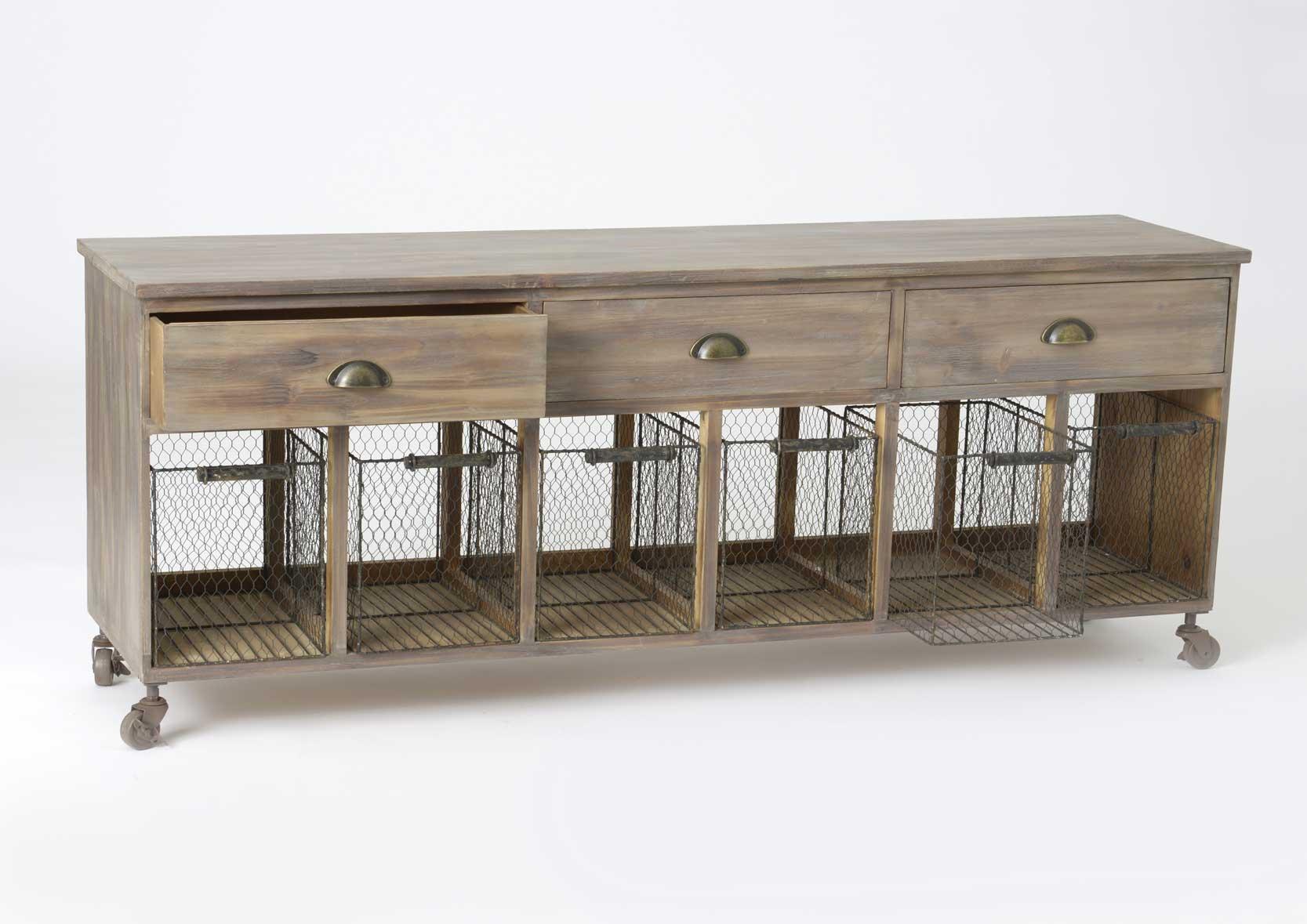 Meuble en bois paniers grillage et tiroirs for Meubles a tiroirs en bois