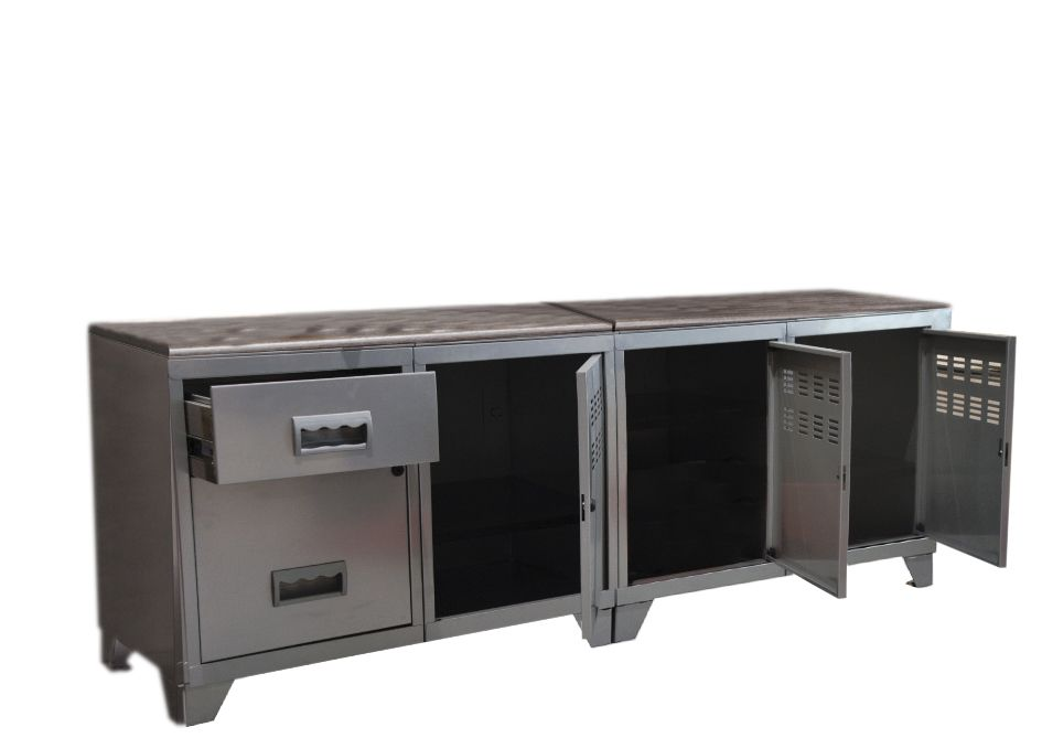 Meuble tv bois m tal industriel alu for Meuble industriel blanc