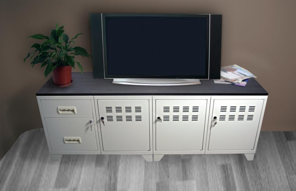 Meuble tv bois m tal industriel for Meuble industriel bois et metal