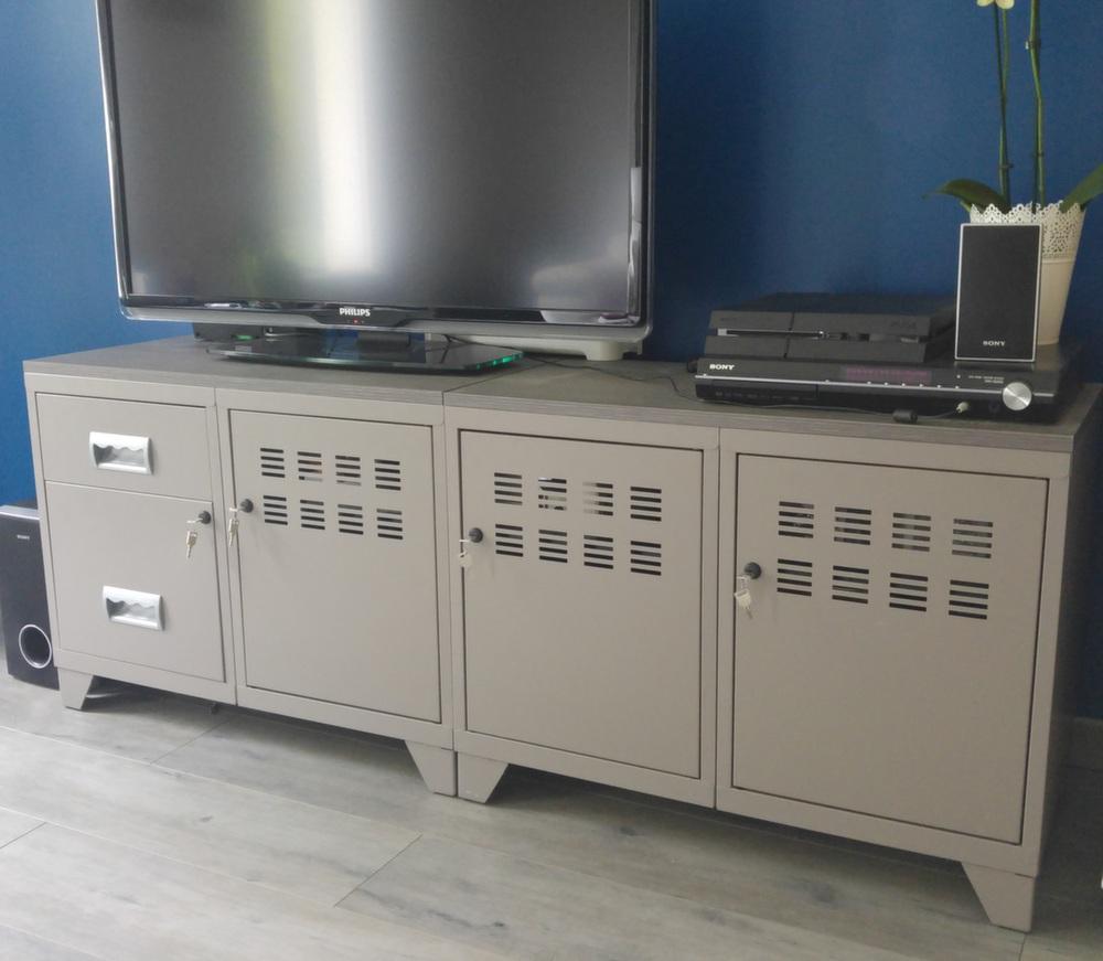 Meuble tv bois m tal industriel - Meuble tv industriel ...