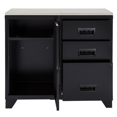 meuble bureau m tal 1 porte 3 tiroirs noir. Black Bedroom Furniture Sets. Home Design Ideas
