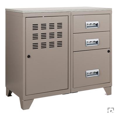 meuble bureau m tal 1 porte 3 tiroirs taupe. Black Bedroom Furniture Sets. Home Design Ideas