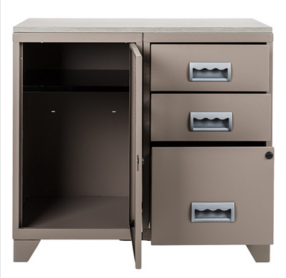 Meuble bureau m tal 1 porte 3 tiroirs taupe for Meuble bureau metal