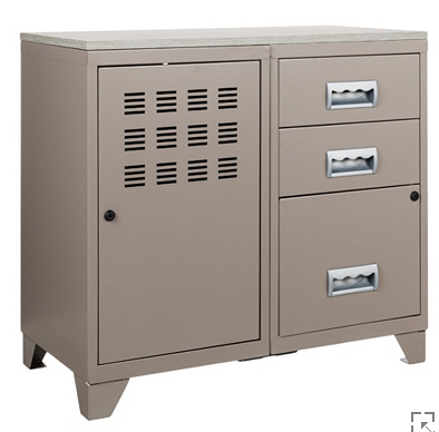 meuble bureau m tal 1 porte 3 tiroirs
