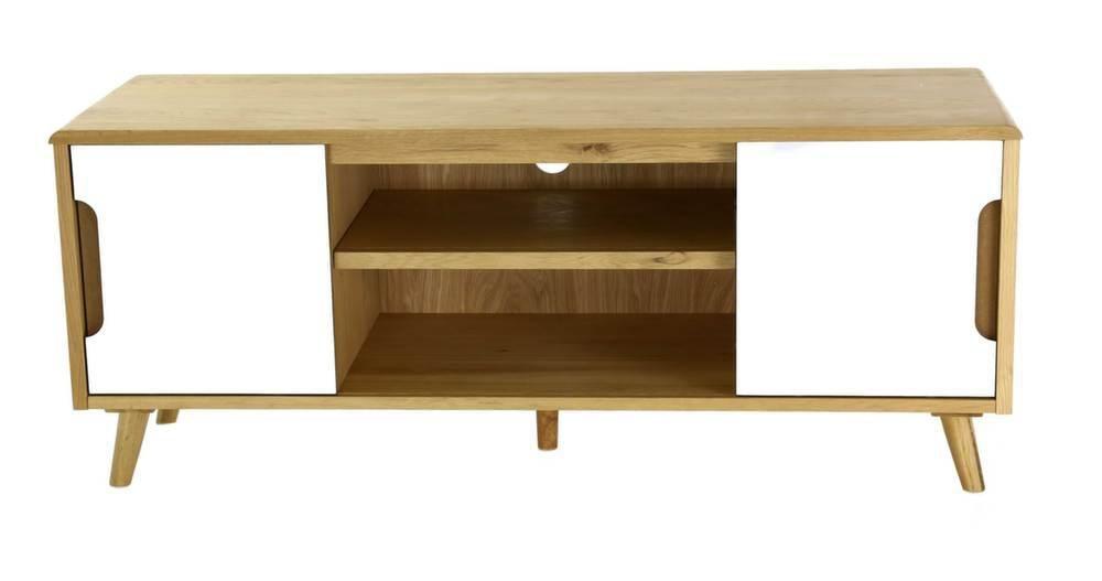 meuble tv 2 portes coulissantes et 2 niches elfy 130 cm. Black Bedroom Furniture Sets. Home Design Ideas