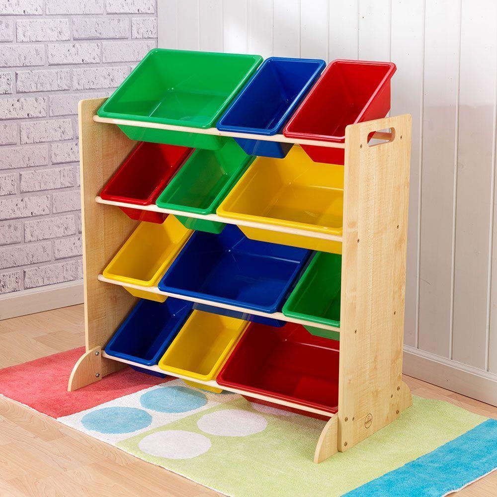 Meuble de rangement en bois 12 bacs pour enfant for Rangement pour chambre enfant
