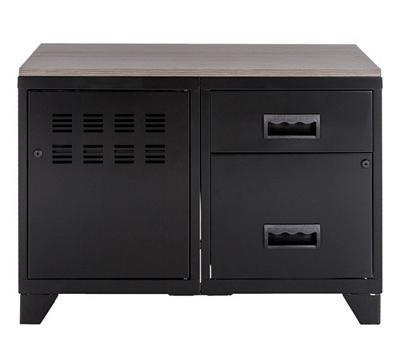 meuble rangement m tal 1 porte 2 tiroirs noir. Black Bedroom Furniture Sets. Home Design Ideas