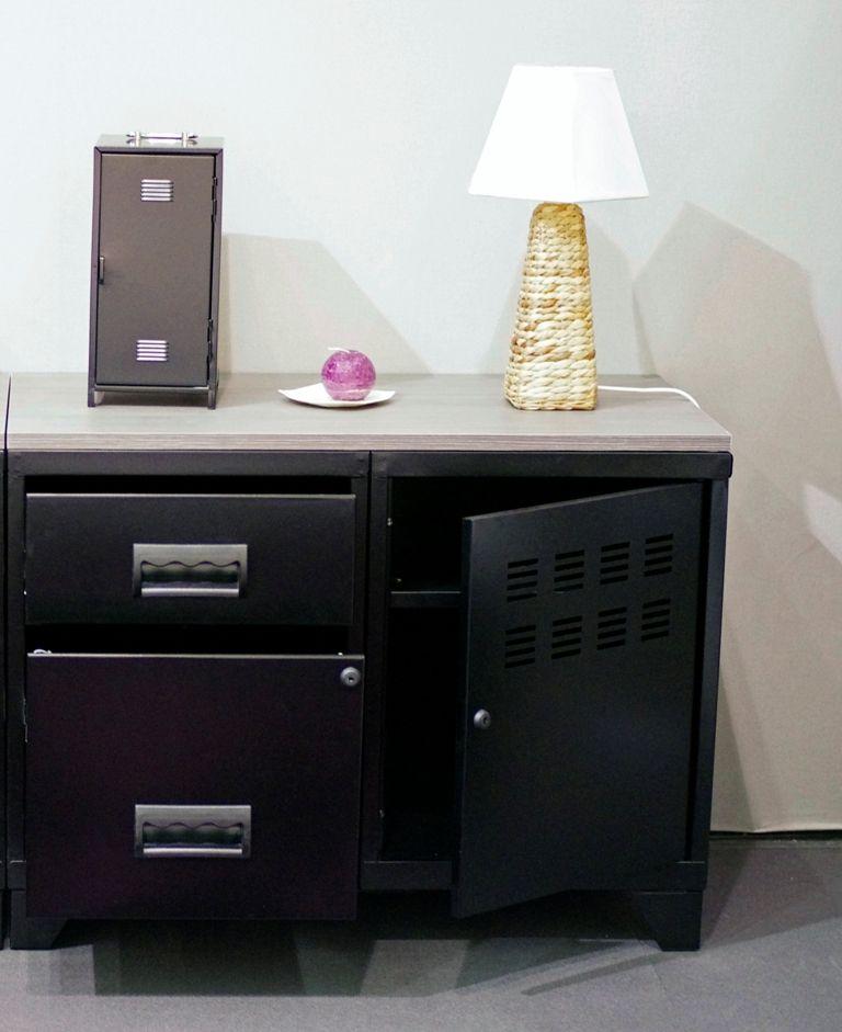 Meuble rangement m tal 1 porte 2 tiroirs - Grand meuble de rangement salon ...
