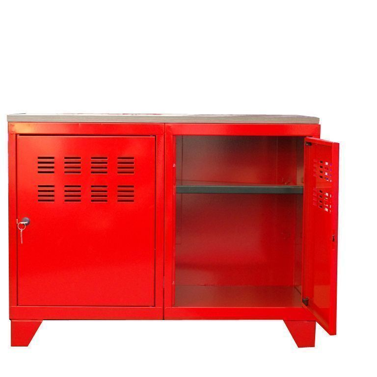 Meuble rangement m tallique 2 portes - Meuble metallique rouge ...