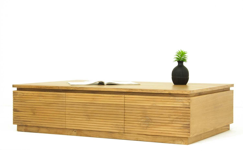 Table basse salon 3 tiroirs en teck massif - Table basse teck massif ...