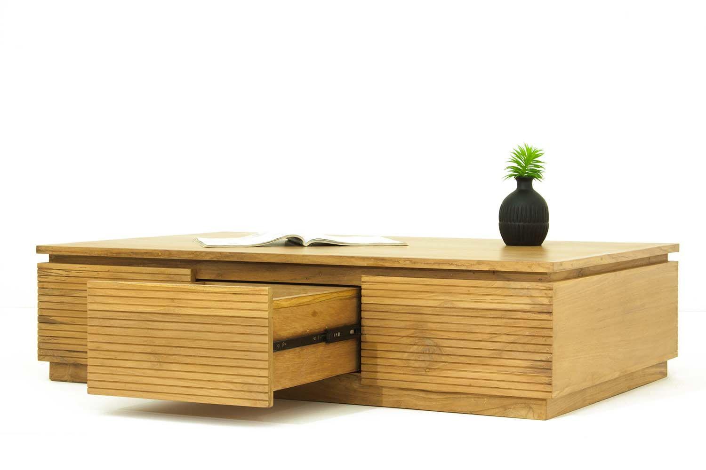 table basse salon 3 tiroirs en teck massif. Black Bedroom Furniture Sets. Home Design Ideas