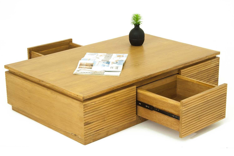 Table basse salon 3 tiroirs en teck massif - Table jardin teck massif fort de france ...