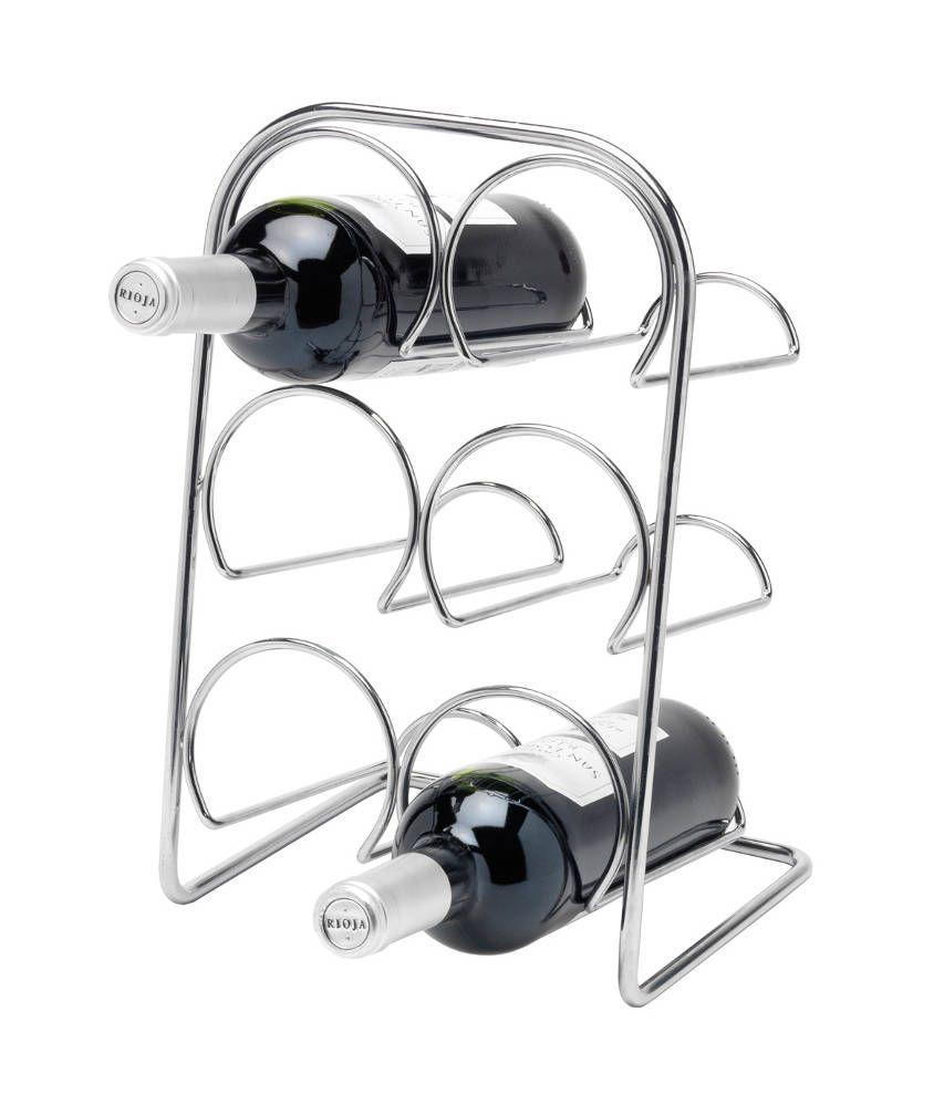 rack vin pour 6 bouteilles en m tal chrom. Black Bedroom Furniture Sets. Home Design Ideas
