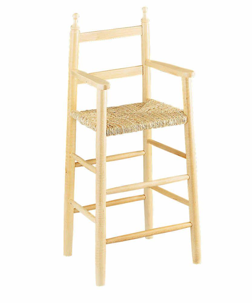 Chaise haute pour enfant en h�tre blanchi et roseaux 42x32x89cm