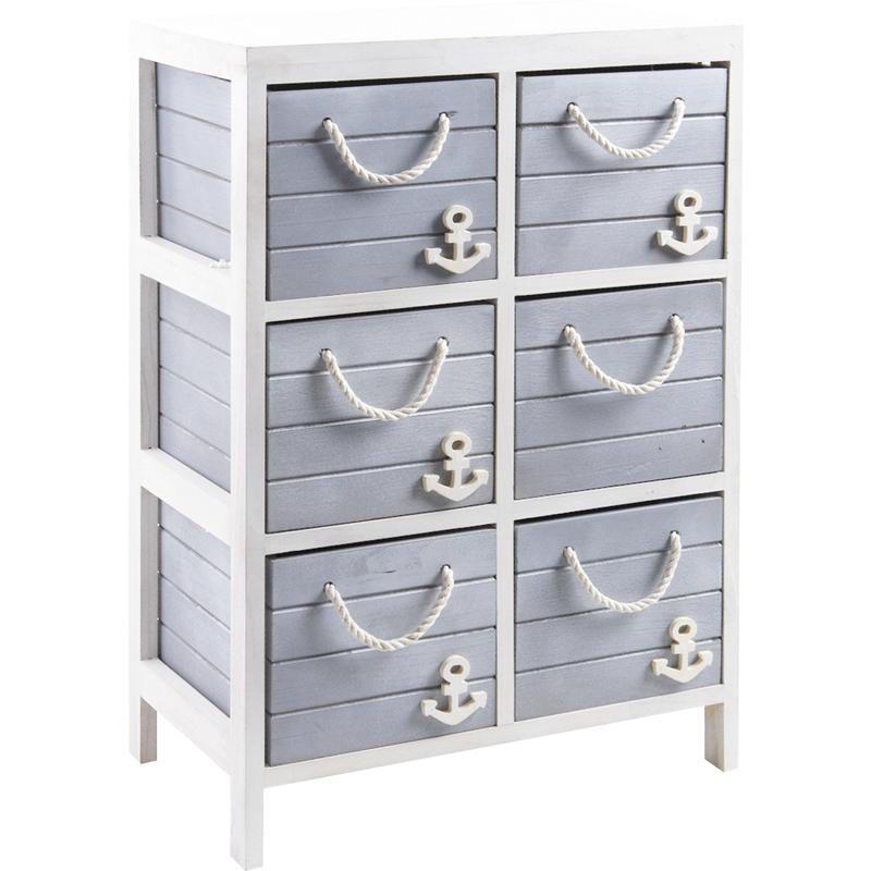 Commode 6 tiroirs en bois et corde marina for Commode salle de bain