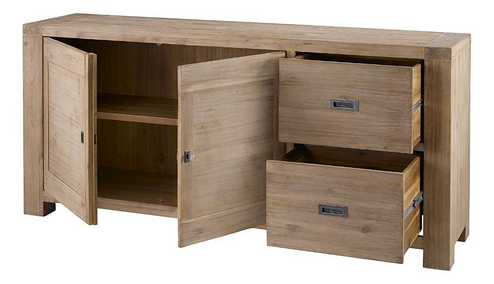buffet 2 portes 2 tiroirs nevada en acacia 180x45x85cm. Black Bedroom Furniture Sets. Home Design Ideas