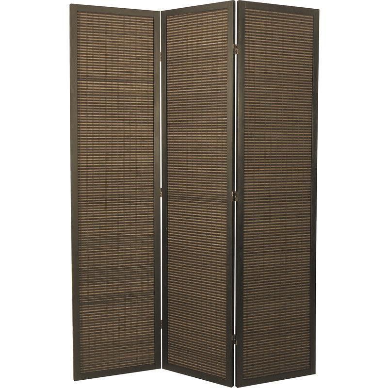 Paravent 3 panneaux en bois et bambou 135x180cm
