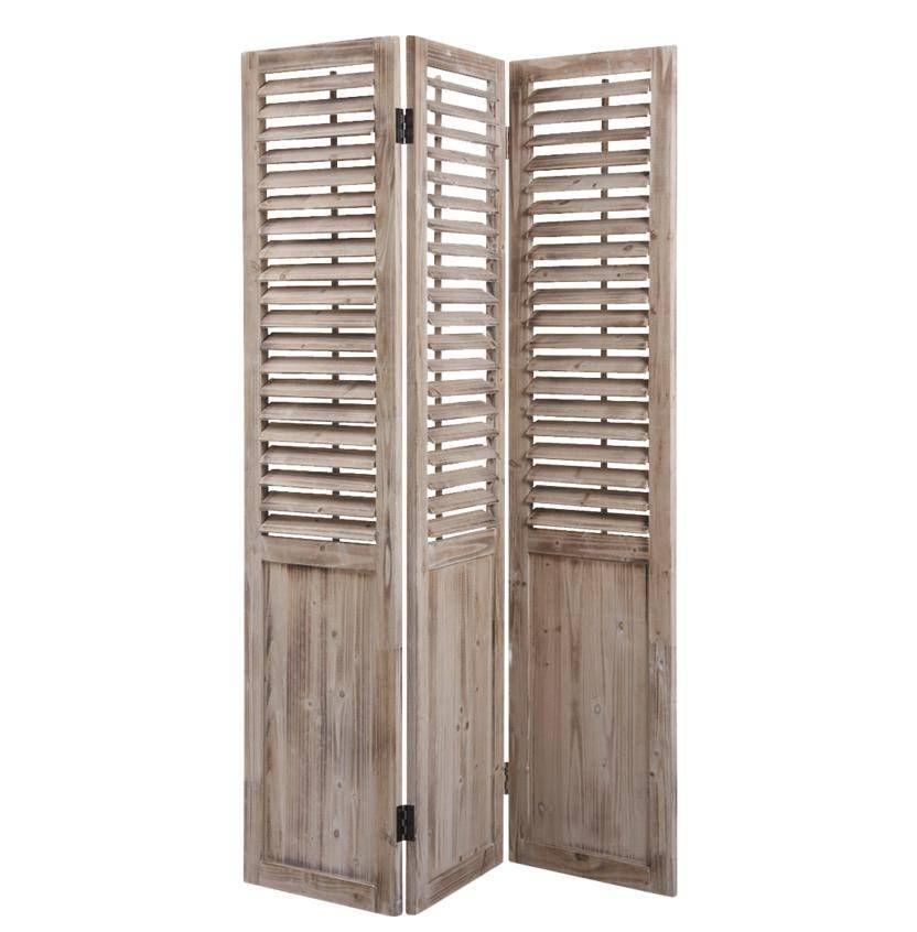 Paravent en bois vieilli 3 panneaux 129x3x182cm
