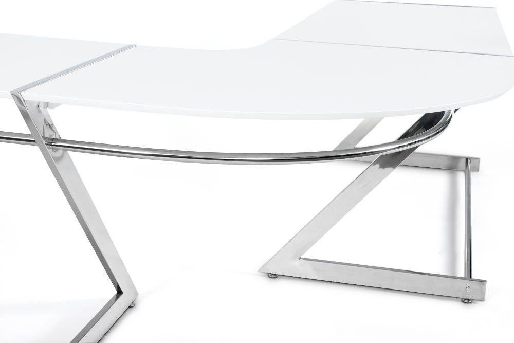 Bureau d 39 angle glossy en bois blanc laqu et m tal bureau kokoon design sur - Bureau d angle laque blanc ...