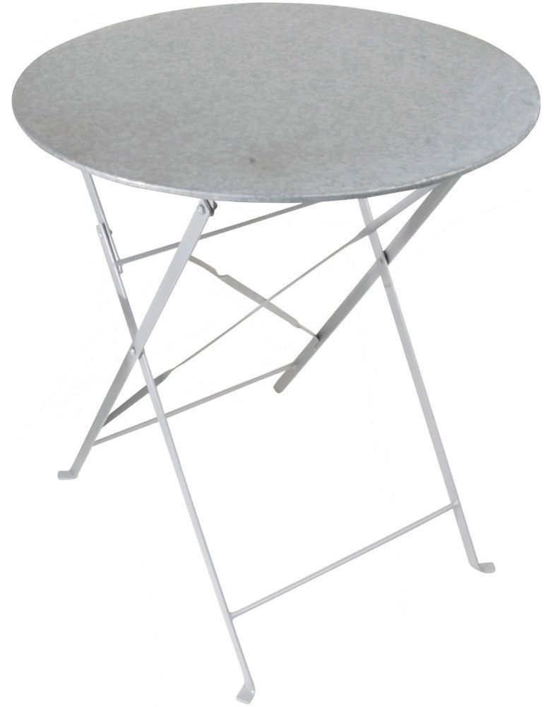 Table ronde pliante en zinc patin� 60,5x60,5x69,4cm
