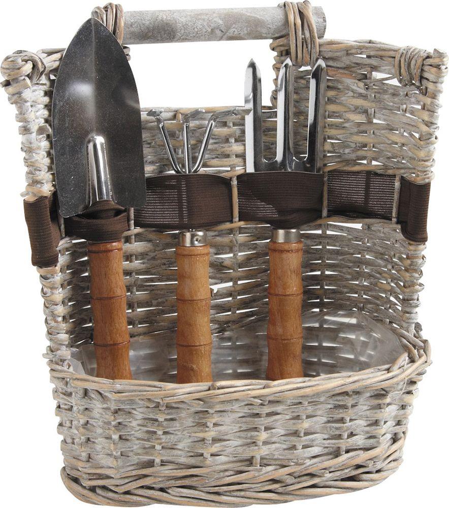 Panier 3 outils de jardinage en osier gris