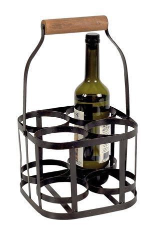 Panier 6 bouteilles m tal et bois for Porte 6 bouteilles metal