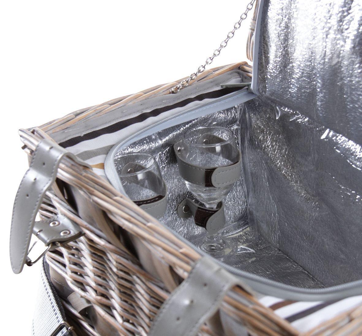 panier pique nique 2 couverts en osier blanchi. Black Bedroom Furniture Sets. Home Design Ideas