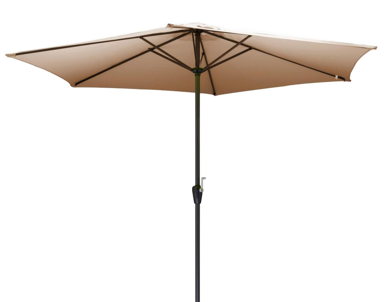parasol en aluminium 350 cm avec manivelle hug taupe. Black Bedroom Furniture Sets. Home Design Ideas