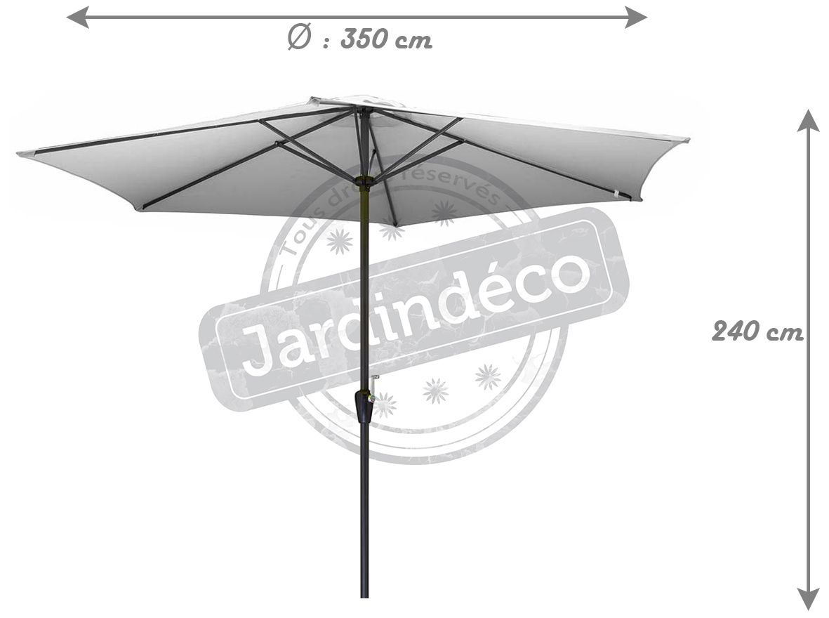 parasol en aluminium 350 cm avec manivelle hug blanc. Black Bedroom Furniture Sets. Home Design Ideas