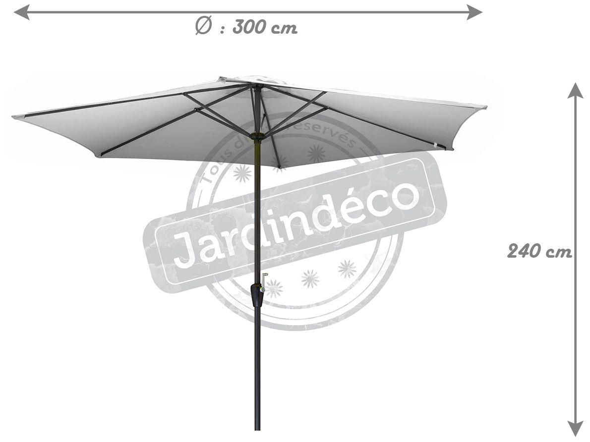 parasol en aluminium 300 cm avec manivelle kori blanc. Black Bedroom Furniture Sets. Home Design Ideas