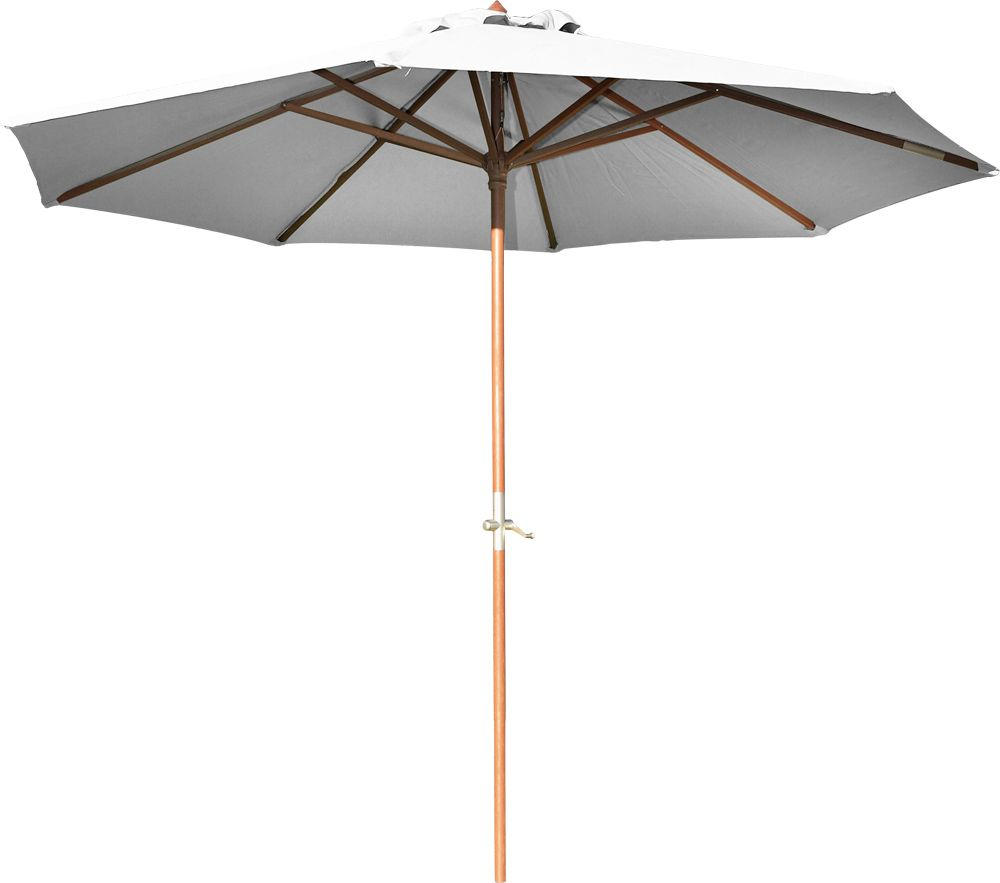 parasol en bois 350 cm avec manivelle june ecru. Black Bedroom Furniture Sets. Home Design Ideas