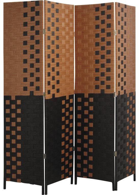 paravent 4 panneaux en bois et corde. Black Bedroom Furniture Sets. Home Design Ideas