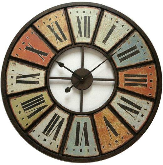 pendule multicolore m tal 75cm. Black Bedroom Furniture Sets. Home Design Ideas