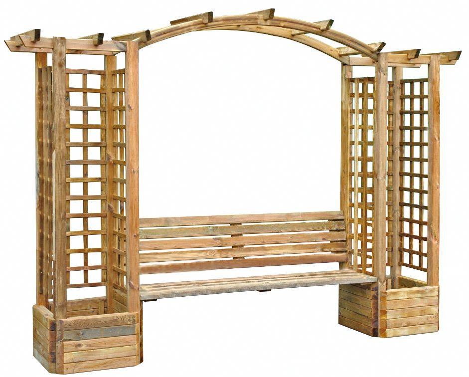 pergola en pin treillis et banc florence. Black Bedroom Furniture Sets. Home Design Ideas