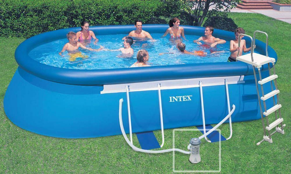 Piscine autoport e rectangulaire intex for Piscine gonflable auchan