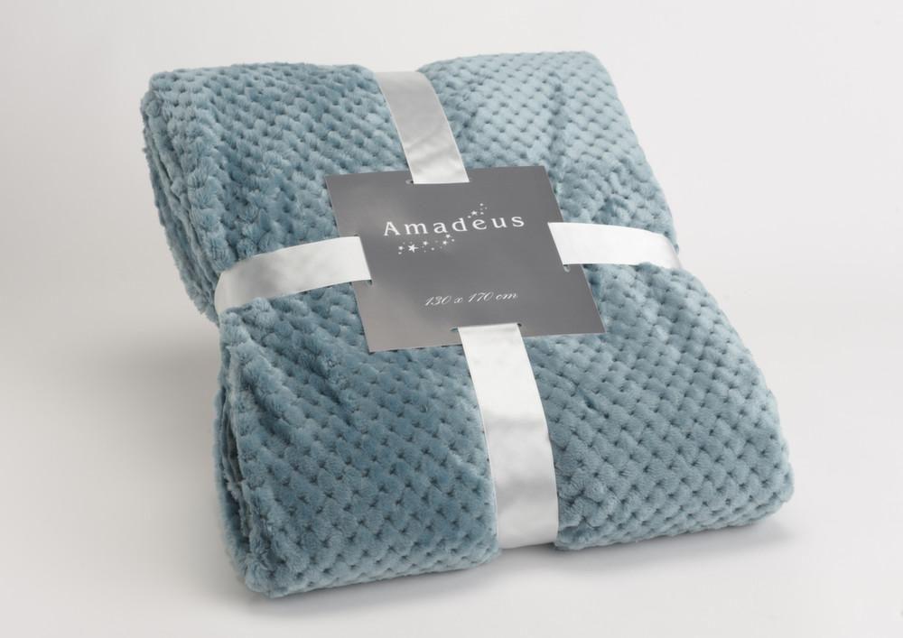 plaid damier 130x170 cm bleu canard. Black Bedroom Furniture Sets. Home Design Ideas
