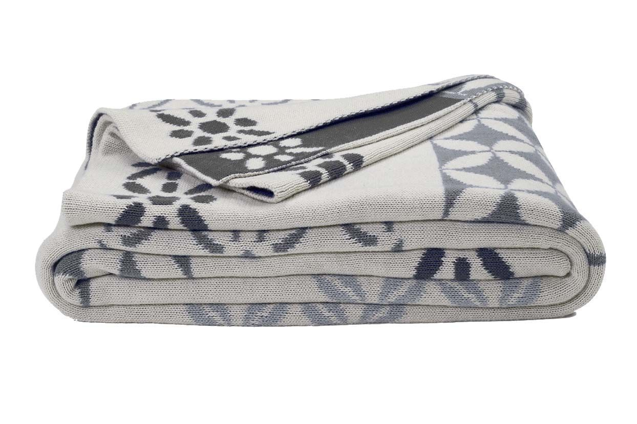 Plaid coton Riverway gris sur Jardindeco