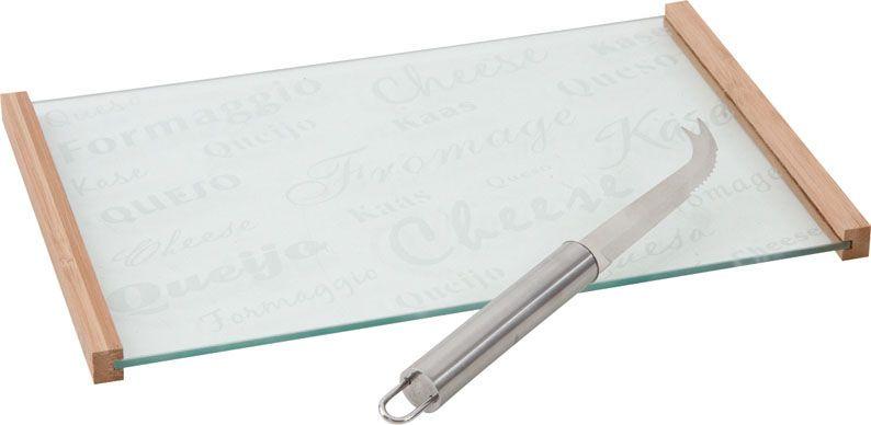 plateau fromages en verre et bambou avec couteau. Black Bedroom Furniture Sets. Home Design Ideas