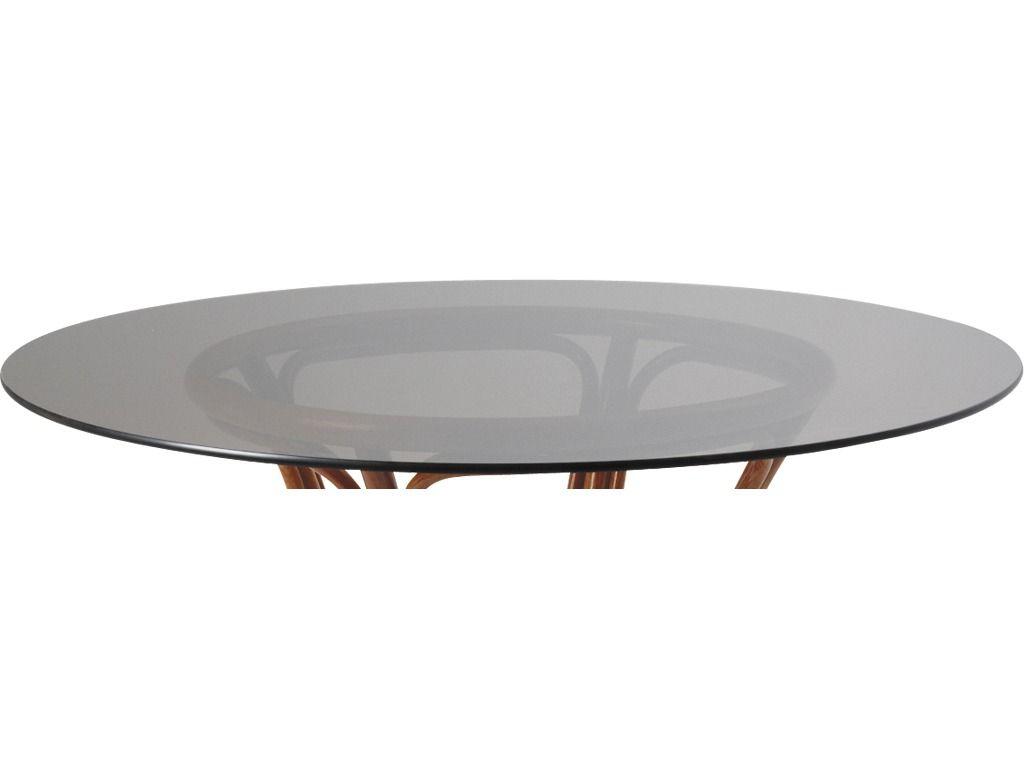 Plateau de table rond en verre fum 80cm for Plateau en verre